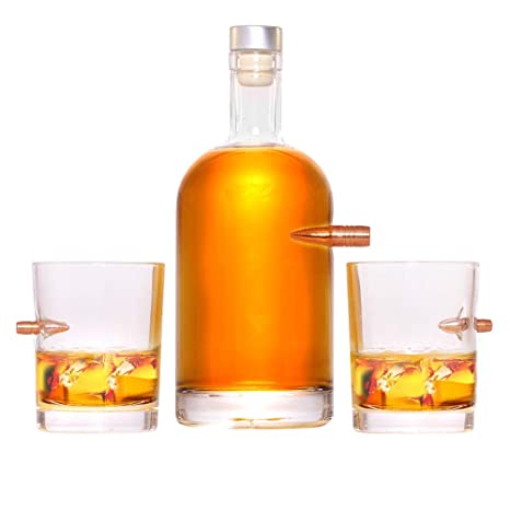 LUCKY SHOT Bullet Decanter Glass Bottle 50 CAL